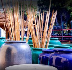 Bamboo Poles in Pots. Bamboo Panels, Bamboo Fence, Tiki Pole, Pole For Sale, Outdoor Fencing, Fencing Companies, Bed Wetting, Cement, Diffuser