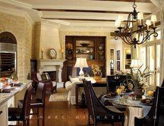 beautiful family room dining room kitchen area open space decor via Marc Rutenberg Homes | Marc-Michaels Interior Design, Inc.