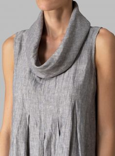 MISSY Clothing - Linen Sleeveless Cowl Neck Long Dress
