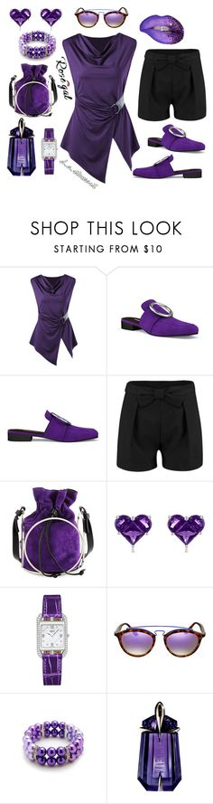 """☂️PURPLE RAIN☂️"" by dastewart ❤ liked on Polyvore featuring Dorateymur, COSTUME NATIONAL, Effy Jewelry, Hermès, Ray-Ban, Glitzy Rocks and Thierry Mugler"