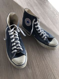 13524a1571e7 Details about Vintage Converse Made In USA High Tops 8.5 Chuck Taylor All  Stars Navy Blue