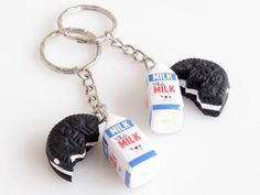 BFF Milk and Oreo Cookie, Best Friends Oreo Keychains, Friendship Keychains, Miniature Sweets, Friendship Jewelry, Kawaii