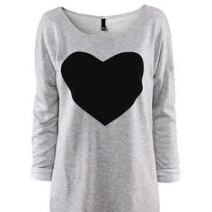 Ularmo Fashion Women Love Heart Printed Long Sleeved Round Neck... (33 NOK) ❤ liked on Polyvore featuring tops, t-shirts, shirts, sweaters, longsleeve t shirts, tee-shirt, heart tee, shirt top and round neck shirt