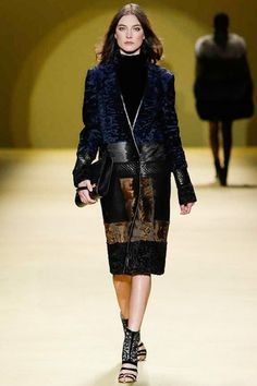 This coat. My closet. Stat. Menswear full wool cut with pieced fur accents and seasonal navy.  J. Mendel Fall 2014 Ready-to-Wear Collection Slideshow on Style.com