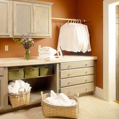 Rustic warm laundry room