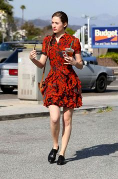 Emmy Rossum showing sexy legs in a red dress at a coffee shop in Beverly Hills