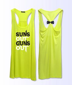suns out guns out  work out  fitness bow tank top 057 by VintTime, $24.00 - yellow
