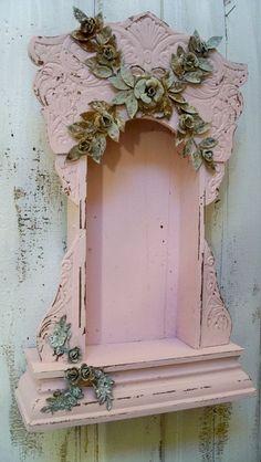 Pink display case shrine shabby chic ornate by AnitaSperoDesign, $225.00