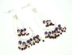 amethyst and garnet earrings - helene h