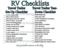 RV Set-Up and Tear-Down Checklists Camper Tricks/Hacks Rv Camping Checklist, Rv Camping Tips, Travel Trailer Camping, Rv Tips, Camping Essentials, Travel Trailer Living, Camping Packing, Packing Lists, Camping Survival