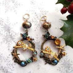 Boucles d'oreilles bronze, or antique et cuivre