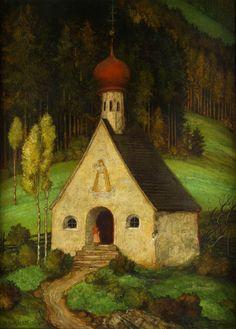 Frau an einer Waldkapelle (1939) by Matthäus Schiestl (1869–1939), German painter  (lilacsinthedooryard)