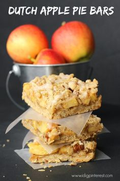 These delectable Dutch Apple Pie Bars with a tasty crumb topping and cinnamon sweet glaze are sure to have you yearning for fall and the cooler weather! Köstliche Desserts, Best Dessert Recipes, Apple Recipes, My Recipes, Cookie Recipes, Delicious Desserts, Favorite Recipes, Recipes Dinner, Potato Recipes