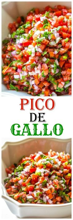 Pico De Gallo - Fresh tomato, cilantro, onion, and jalapeno make the best salsa ever. All clean eating ingredients are used for this healthy salsa recipe. Mexican Dishes, Mexican Food Recipes, New Recipes, Vegetarian Recipes, Cooking Recipes, Favorite Recipes, Healthy Recipes, Ethnic Recipes, Vegetarian Cooking