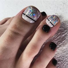 50 Beautiful Nail Art Designs & Ideas Nails have for long been a vital measurement of beauty and Simple Toe Nails, Pretty Toe Nails, Cute Toe Nails, Pretty Toes, Diy Nails, Toe Designs, Pedicure Designs, Pedicure Nail Art, Toe Nail Art