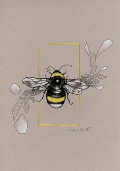 Angular Bumblebee by LucieOn on DeviantArt Bumble Bee Tattoo, Bumblebee Drawing, Animal Drawings, Art Drawings, I Love Bees, Desenho Tattoo, Bee Art, Bees Knees, Design Inspiration