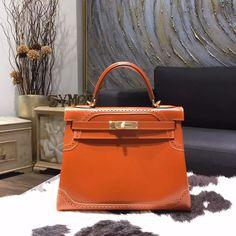 Hermes Kelly Ghillies Limited Edition 28cm Box Calfskin Leather Bag Handstitched Gold Hardware, Tadelakt Fauve CK34 - Shop Ms Fashion Junkie