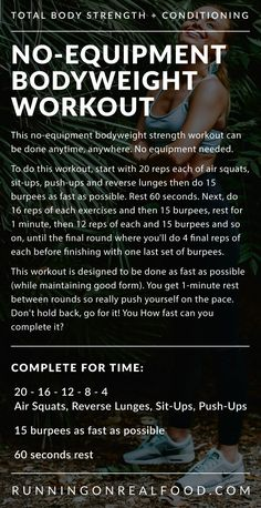 Travelling or need a quick workout you can do at home? Try this quick by tough bodyweight workout with air squats, burpees, lunges, sit ups and push ups. How fast can you complete this? Push Up Workout, Travel Workout, Hiit Bodyweight Workout, Body Pump Workout, Workout Challenge, Tabata, Cardio, Workout Tips, Strength Workout