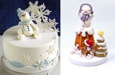 snowman christmas cake by Tahneelynn (left) and from Pinterest (right)