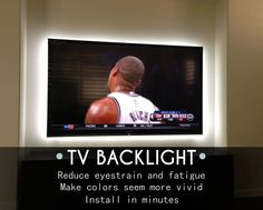 Is your TV in the best shape possible for football season?- TV Backlight Kit from Inspired LED reduces eye strain, provides better picture, and is incredibly easy to install Tv Lighting, Strip Lighting, Lighting Ideas, Kitchen Lighting, Lighting Design, Lights Behind Tv, Led Living Room Lights, Deco Led, Tv Backlight