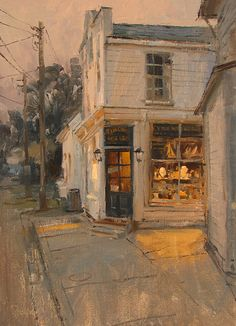Tucked away by Mike Kowalski Oil ~ 14 x 10 I like the way my eye goes directly to the display window before wandering through the composition. There is just the right amount of detail, and it feels like a bigger painting. Very successful work.
