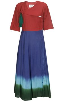 Navy blue and oxblood red dip dye crossover dress available only at Pernia's Pop Up Shop.#perniaspopupshop #shopnow #happyshopping #designer #newcollection #KASHA #clothing #winterfestive