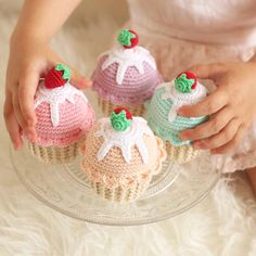 Price is for 1 Crochet Cupcake only! Hand crocheted amigurumi cupcake- beautiful kitchen decor, fun pretend food for kids tea party or perfect gift for someone special (everybody love cake, and crochet cake is totally guilt free)! ;) This beautiful cupcake features a small strawberry