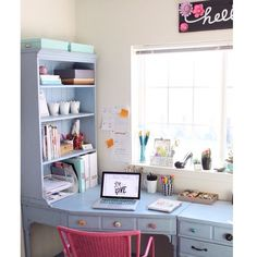 Craft Room Office Reveal. You have to see the giant pegboard wall!   bydawnnicole.com