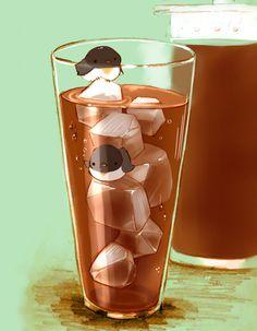 氷山とペンギン。暑い日には冷たい飲み物です。