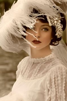 1920s Bride white feathers roaring twenties great gatsby art deco romantic beads head dress lace short hair black dark red lip headdress wedding bridal