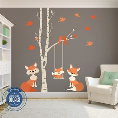 Family Orange Fox Wall Decals Woodland Nursery - Tips on Decor Fox Themed Nursery, Woodland Nursery Boy, Fox Nursery, Nursery Decals, Nursery Themes, Nursery Room, Nursery Wall Art, Baby Room Wall Decals, Baby Boy Rooms