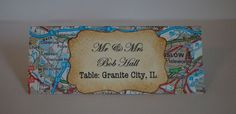 Beautiful Hand Crafted Atlas/Map Themed Wedding Escort Cards Vintage or Shabby Chic Style x 10