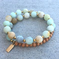 Matte amazonite and sandalwood wrist mala bracelet