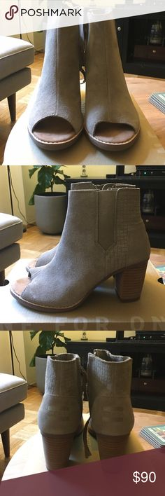 Toms Majorca Peep Toe Desert Taupe Embossed Suede peep toe booties. Never been worn come new in box. Size 6.5. So comfortable and Perfect for fall TOMS Shoes Ankle Boots & Booties
