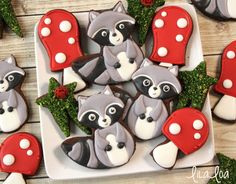 Woodland Party - Woodland Raccoon Cookies via Lila Loa Sweet Little Things (tutorial)