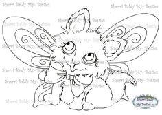 INSTANT DOWNLOAD Digital Digi Stamps Big Eye Big Head Dolls Digi Fairy Kitty IMG370  By Sherri Baldy