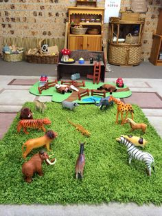 Green shag carpet piece makes a great barnyard setting!