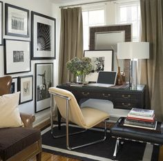 David Jimenez    chic, modern den office design with taupe velvet drapes, black desk, ivory cream polished chrome modern chair, black leather tufted bench, black & white rug, zebrawood mirror, photo gallery and lamp.