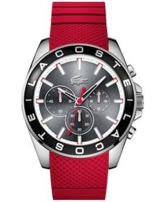 Lacoste Men's Chronograph Westport Red Silicone Strap Watch 45mm 2010853 - Red