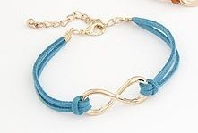 Infinity Leather Bracelet – Gold & Blue  $5.00  Fashion Jewelry at Modest Prices - www.gomodestly.com