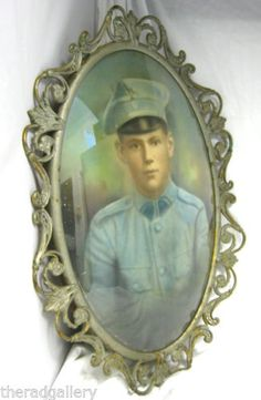 Antique-Soldier-Boy-Painting-Photograph-in-Bow-Glass-Picture-Metal-Scroll-Frame