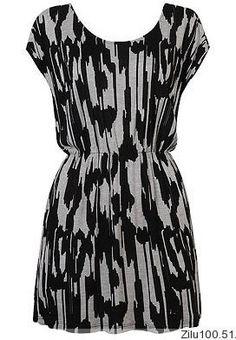 Women New Style Fashion Scoop Mini Length Short Sleeve Print Black Blends Dress S/M/L@II0108b