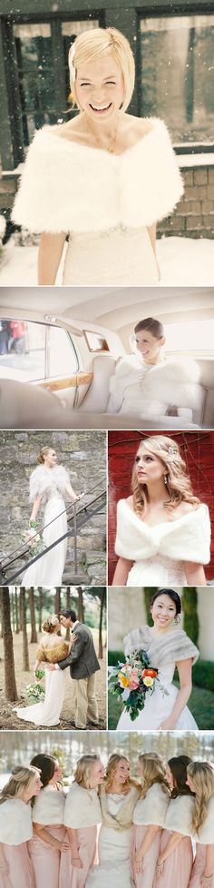 29 Timeless Chic Bridal Cover Ups - Fur Shrugs, bridal furs, stoles, and scarves