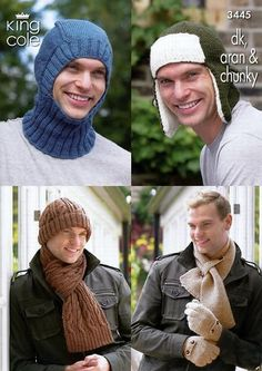 Men's Hats, Balaclava, Scarves & Hats in King Cole DK, Aran and Chunky – Deramores