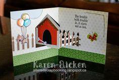 Karen Aicken using the Pop it Ups House Pivot Card die by Karen Burniston for Elizabeth Craft Designs - Altered Scrapbooking: Karen Burniston's May Designer Challenge Card