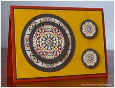 handmade card featuring Moroccan Nights ... Autumn colors ... circles theme ... patterned paper coordinating with background and mat colors ... Stampin' Up!