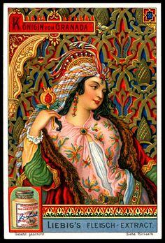"""Liebig's Beef Extract """"Queens"""" German issue, 1907. Queen of Granada. (beef extract is exotic??)"""