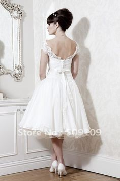 Vintage Charming Tea length Wedding dress High Collar Organza Ball Gown bridal dress on Aliexpress.com