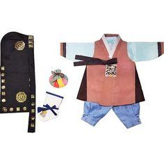 Light Terra Cotta and Blue - Boy Dol Hanbok Set - 6 Pieces