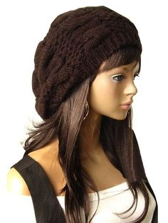 59466c05f0e EUBUY Top Fashion Winter Warm Women Lady Yong Girls Baggy Beret Chunky Knit  Knitted Braided Beanie Hat Ski Cap Crochet Knitted Hat Knitted Crochet  Oversized ...